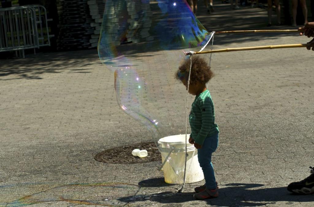 Dalia stepping into a bubble