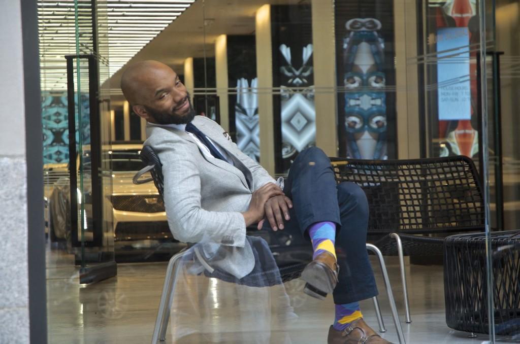 man and his socks