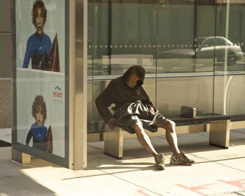 man in bus stop