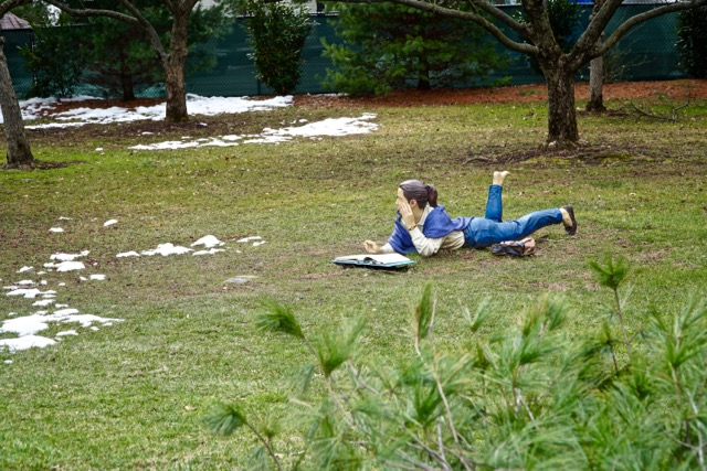 READING ON THE LAWN IN THE SNOW - 1